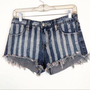 Free People | Striped Denim Cut Off Shorts